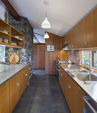 Mid Century Modern ArchitectureEuro Style Kitchen Cabinets Stained Or Painted Zinc Counter Tops