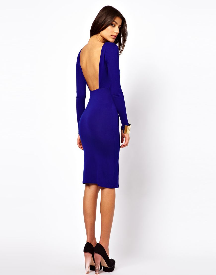 ASOS Body-Conscious Midi Dress With Square Open Back | Le monde est ...