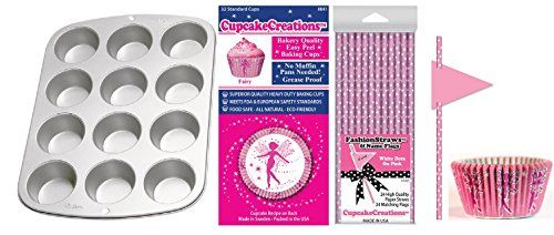 Pink Fairy Dust Party Pack Muffin Pan Baking Cups Fashion Straws
