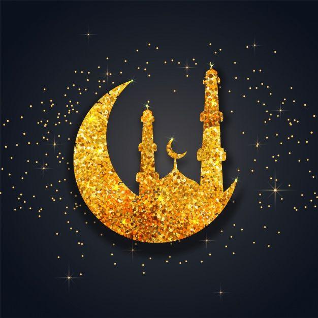 Fantastic Background With Glittering Mosque And Moon Eid Mubarak Wallpaper Ramadan Kareem Decoration Ramadan Decorations
