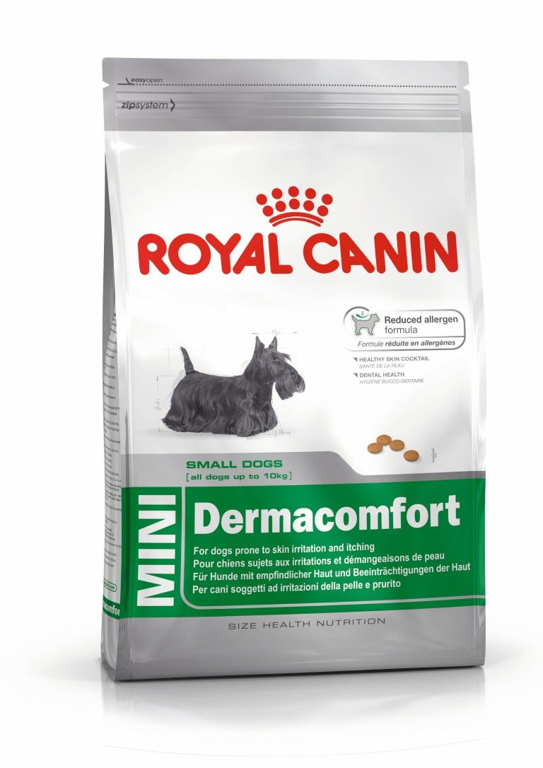 Dogs Food Royal Canin Size Health Nutrition Mini Dogs Up To 10kg Mini Dermacomfort Dog Food Recipes Royal Canin Dog Food Dog Food Comparison