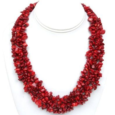"""Amazon.com: 18"""" Multi Strands Red Coral Chips Cluster Necklace and Bracelet Set: Jewelry"""
