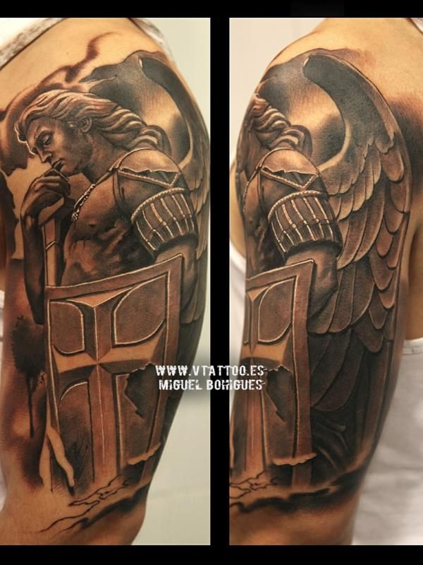 Tatuaje Estatua San Miguel Arcángel Miguel Bohigues Tattoos