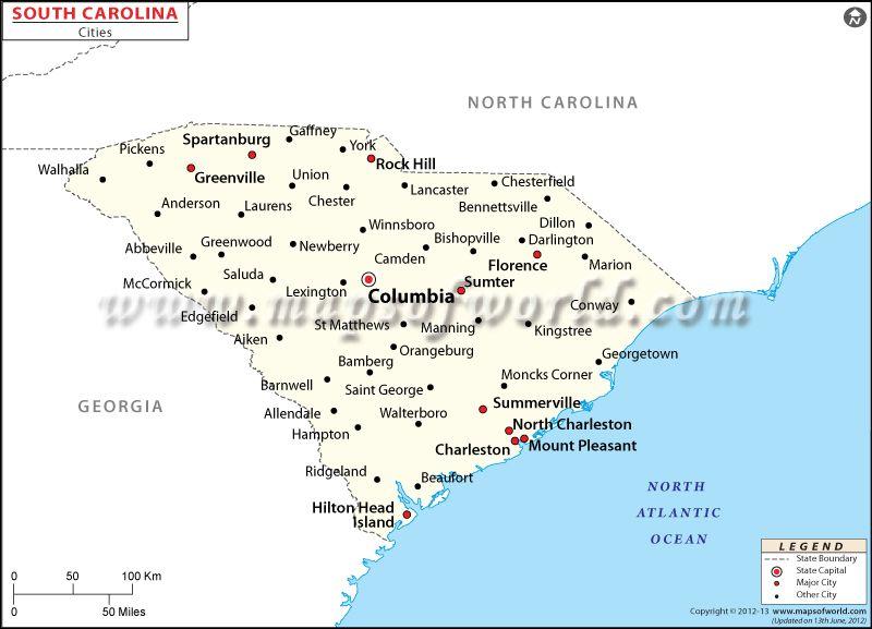 Cities In South Carolina Map Of South Carolina Cities South Carolina Arizona Hiking Map