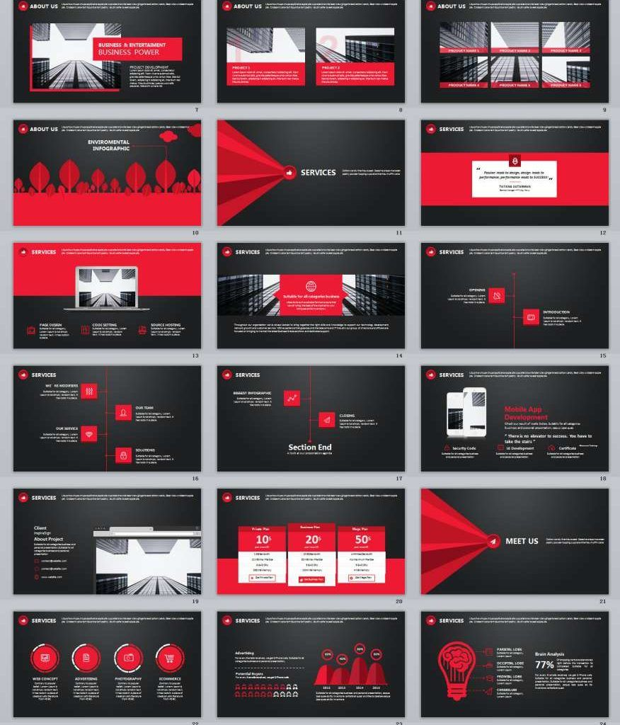 30 Black Red Business Plan Powerpoint Templates Business