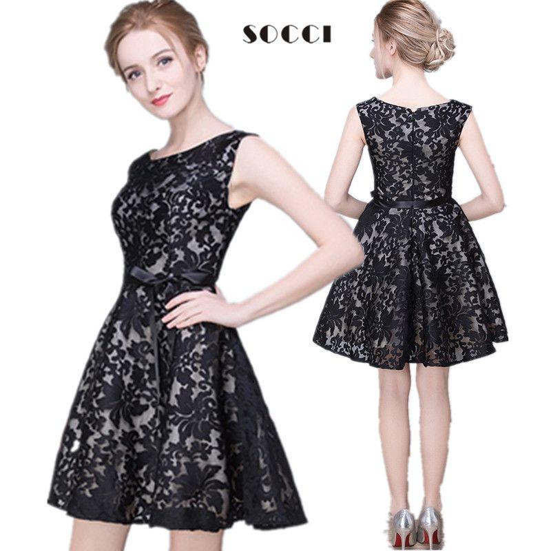 SOCCI Custom Made New Girls Black Lace Short Cocktail Dresses For Juniors  Short Prom Dress Formal