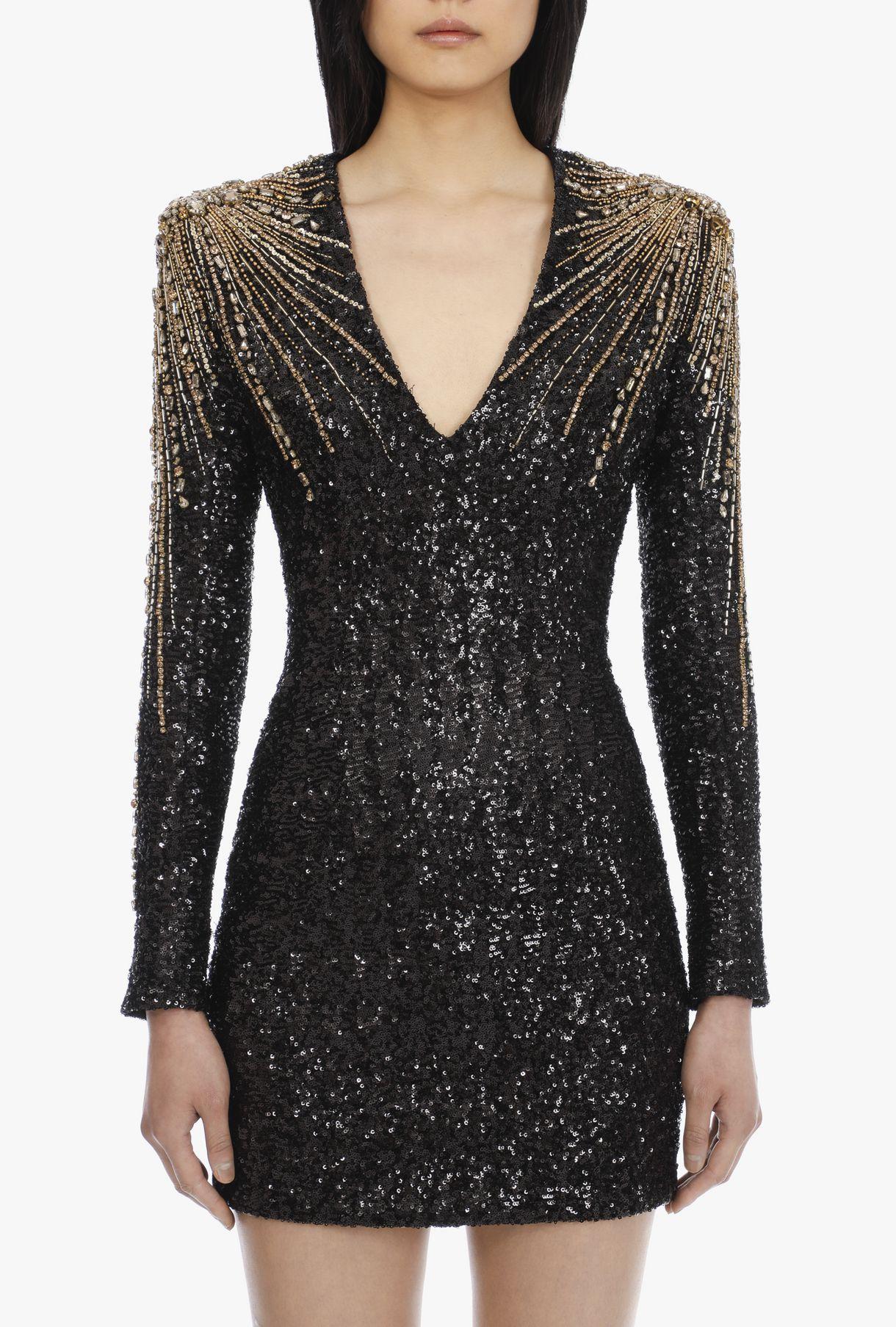 kurzes paillettenkleid in schwarz, gold und silber für für