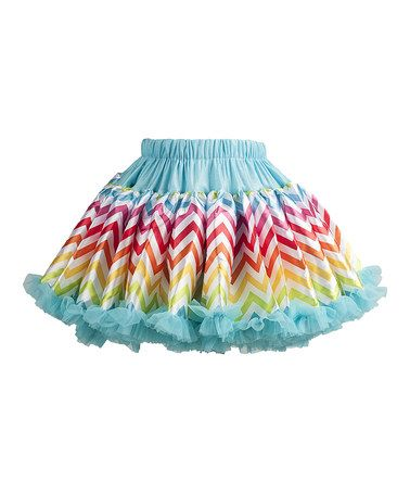 Blue & Rainbow Zigzag Pettiskirt - Infant, Toddler & Girls #zulily #zulilyfinds