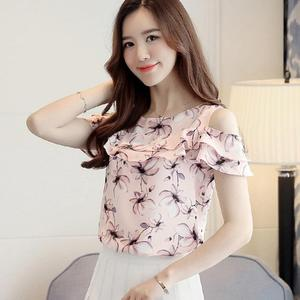 2018 Women Off Shoulder Short Sleeve Blouses Print Floral Chiffon Shirts Casual Ladies Clothing Female Blusas Women Tops #chiffonshorts