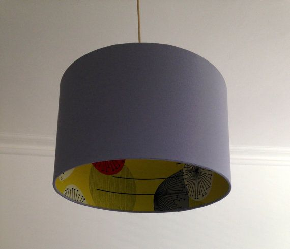 Handmade drum lampshade in soft grey fabric with Sanderson classic 'Dandelion Clocks' Wallpaper interior available in 2 sizes