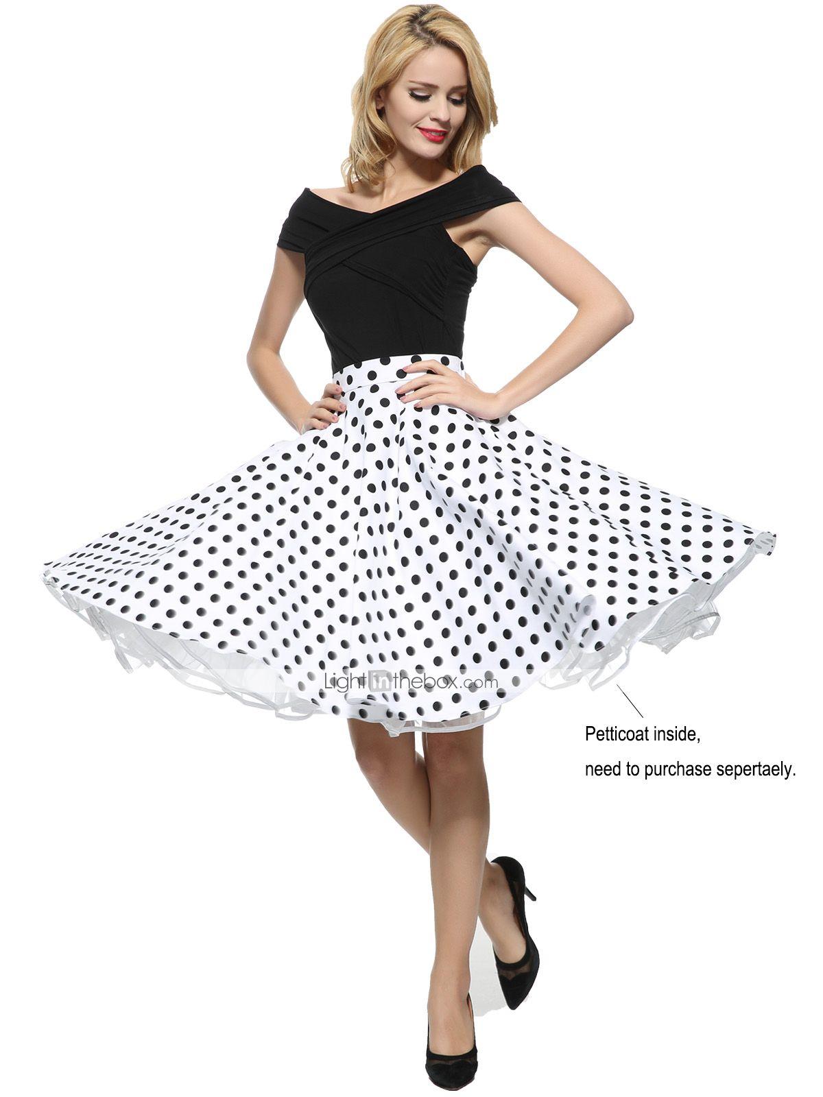 Mujer Chic de Calle Línea A Faldas - Plisado, A Lunares