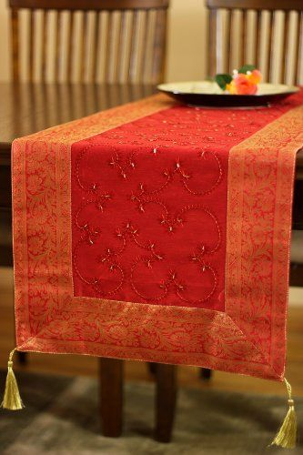 Hand Embroidered 120 Inch By 17 Inch Long Indian Table Runner (Scarlet Red)  Banarsi Designs,http://www.amazon.com/dp/B00DV5E908/refu003d ...