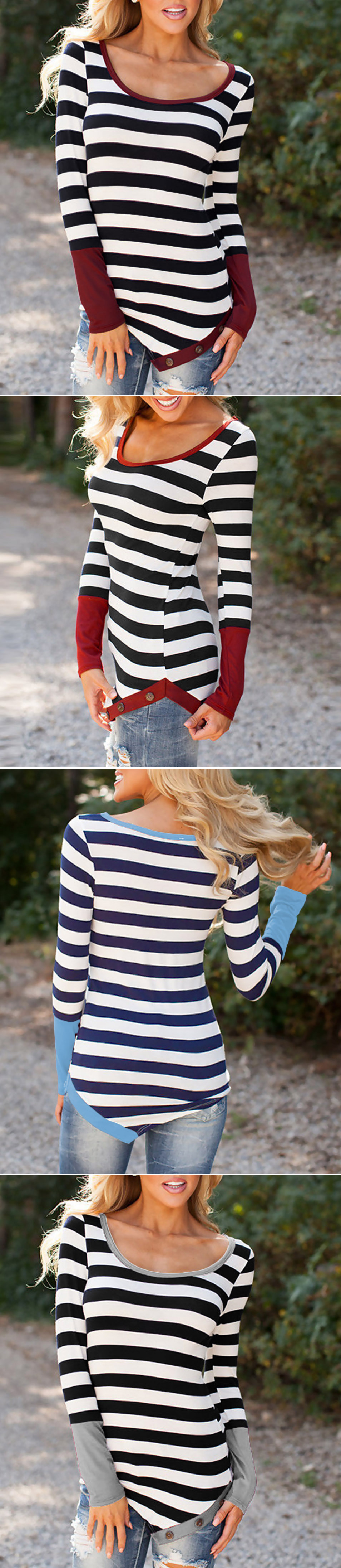 WoW, so lucky to find a Novelty Stripe Color Block Round Neck Knit Tee, As low as $14.99