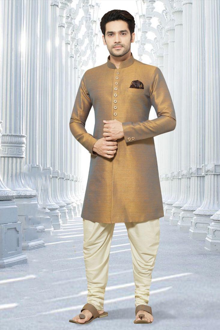 Mens golden colour wedding indo western sherwani designer suit