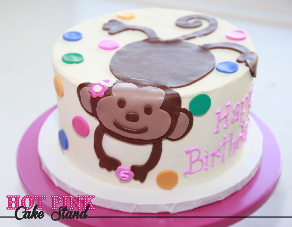Swell Polka Dot Birthday Cake With Fondant Monkey Decoration Made By Hot Birthday Cards Printable Opercafe Filternl