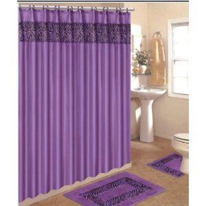 Purple Zebra Bathroom Set For Rugs Shower Curtain Accessories