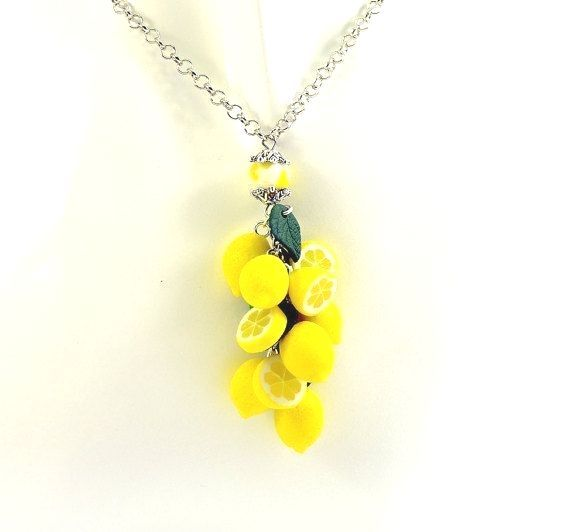Lemon Necklace  Polymer clay jewelry   Gift for by PommeDeNeige
