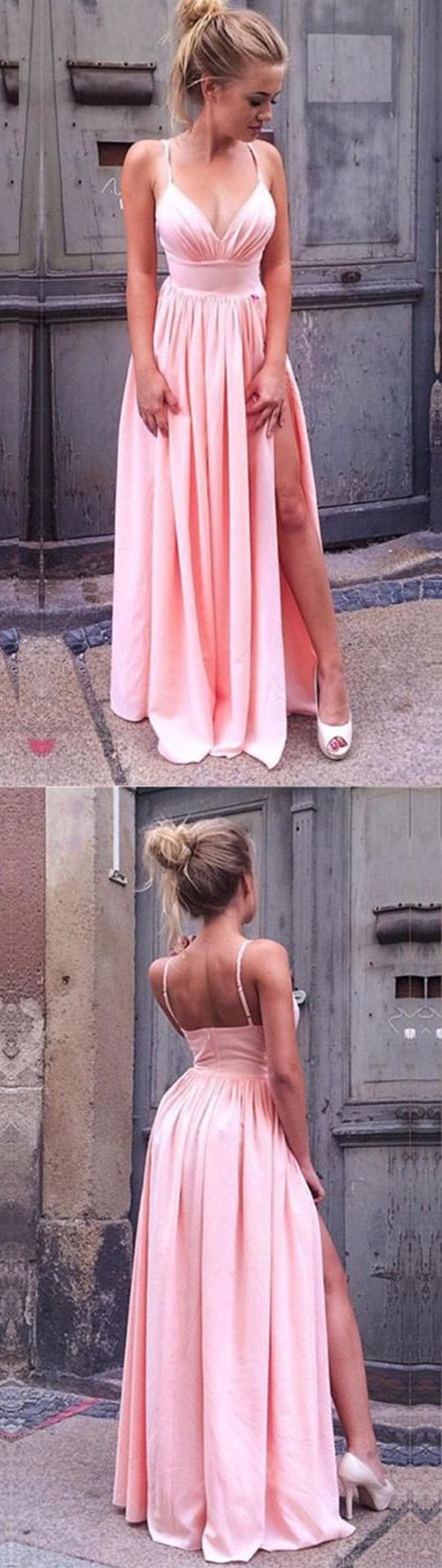 Simple pink v neck long prom dresses sexy a line spaghetti straps