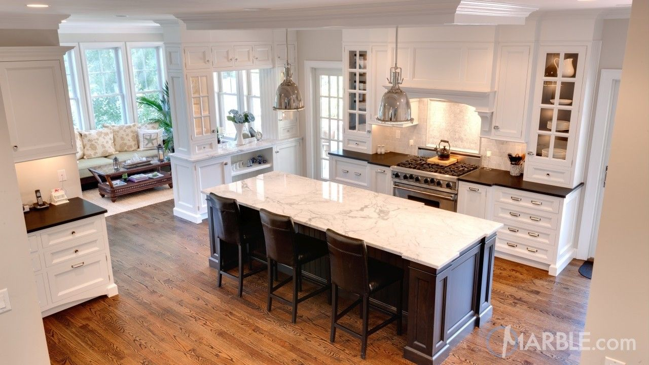Classic Marble Island With Contrasting Granite Countertops Kitchen Countertops Kitchen Timeless Kitchen