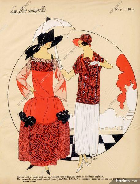 """""""Les Idees Nouvelles de la Mode"""" 1923 Fashion Art Deco Pochoir """"Tres Parisien…"""