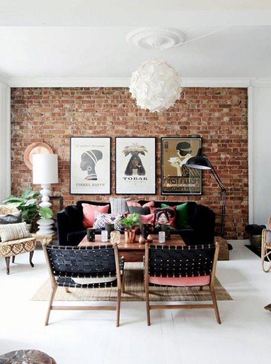 mur de briques dans le salon Décoration Pinterest Salons