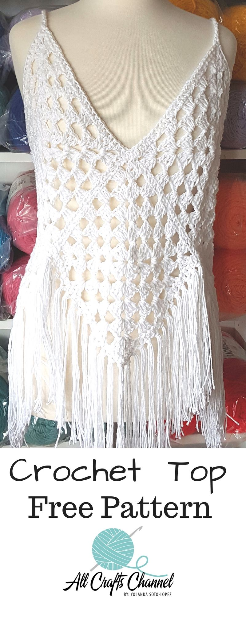 Enjoy this beautiful crochet top. It\'s so easy to crochet. Full ...