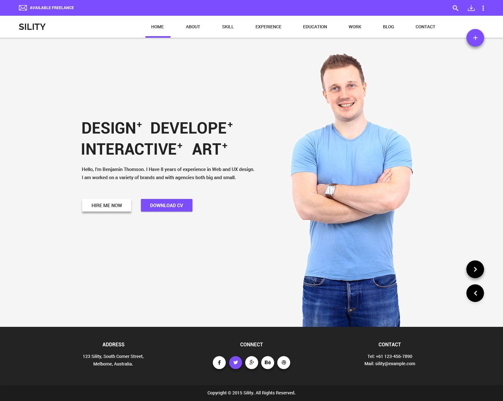 Sility Material Design Vcard Cv Psd Template Wordpress Theme Wordpress Theme Responsive Personal Website Templates