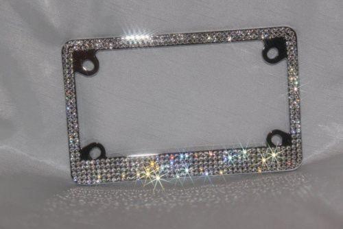 Clear Bling Crystal RhineStone Black Metal Motorcycle License Plate Frame