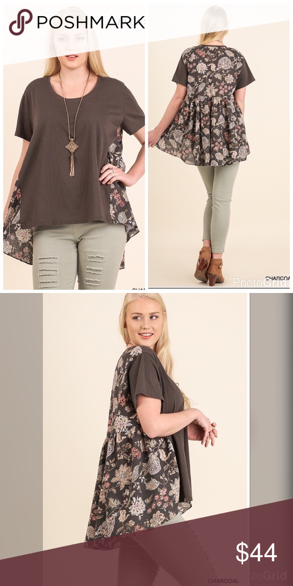 PLUSNEWHigh Low Top Short Sleeve High Low top with Floral Back Design. 60% Cotton 40% Polyester. Tops