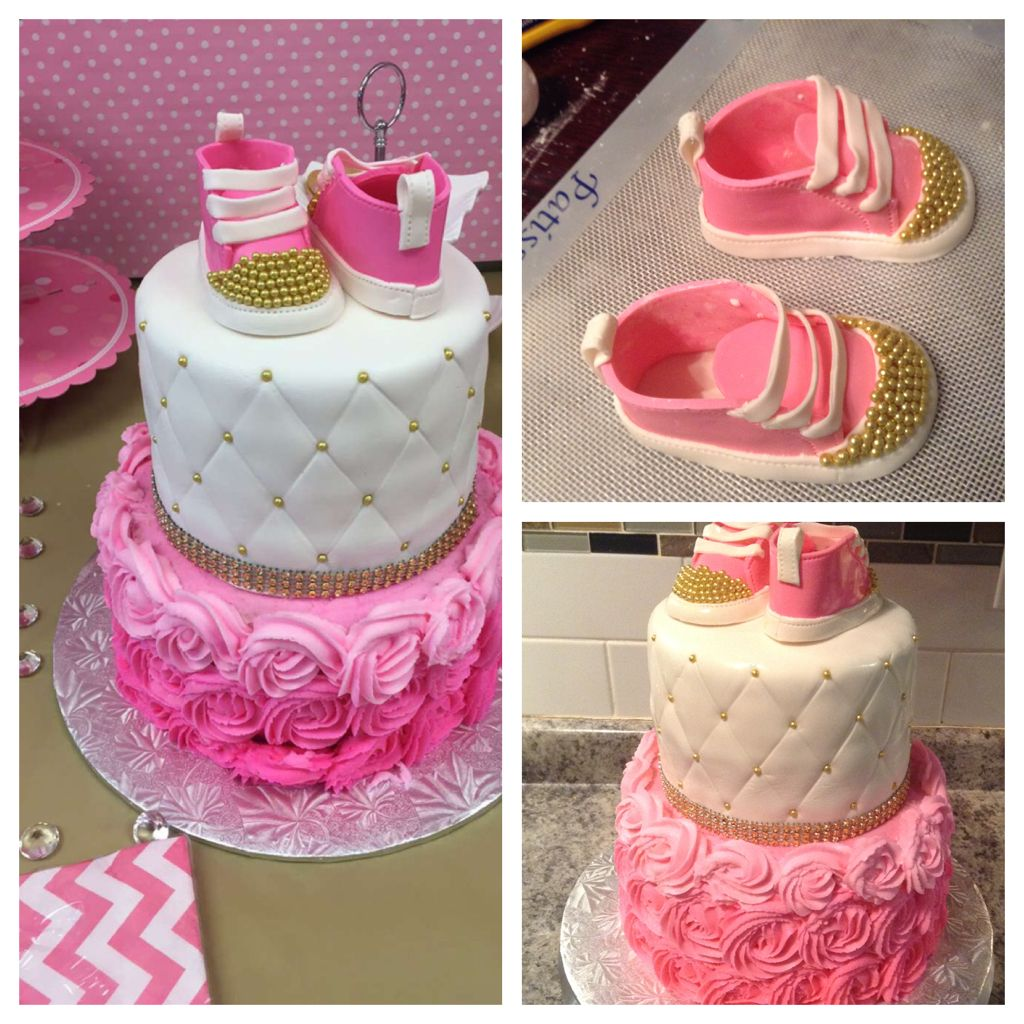 Vanilla Cakes Bottom Cake With Pink Ombr Rosette Top Tier Quilted