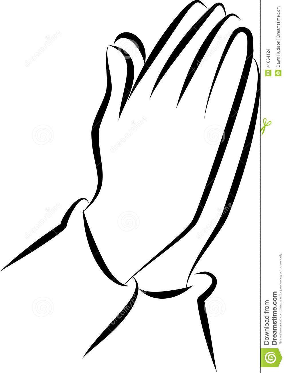 White Praying Hands Black Background