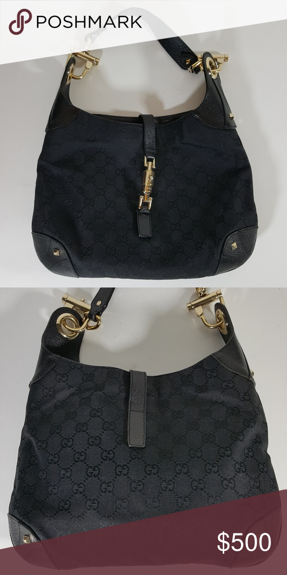 6054ea501ce Gucci Jackie Nailhead Bag Thos lovely bag in black is made in gg canvas.  Perfect condition. 100% authentic Serial number 120888002122 Gucci Bags  Shoulder ...