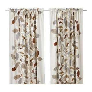 Ikea Stockholm Blad Window Curtains 57x98 Brown Leaf Leave Window