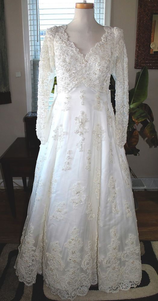 MORI LEE WEDDING GOWN ELEGANT IVORY FULLY BEADED LACE SIZE 16 *WITH ...