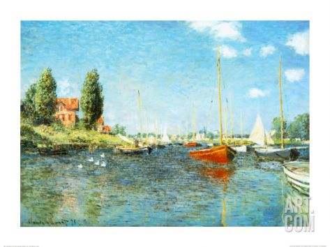 Red Boats At Argenteuil C 1875 Art Print Claude Monet Art Com Monet Art Claude Monet Paintings Claude Monet Art