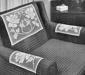 Rose in bloom chair set vintage filet crochet pattern for download rose in bloom chair set vintage filet crochet pattern for download dt1010fo