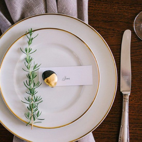 Learn how to make your own gilded stone place card holder!