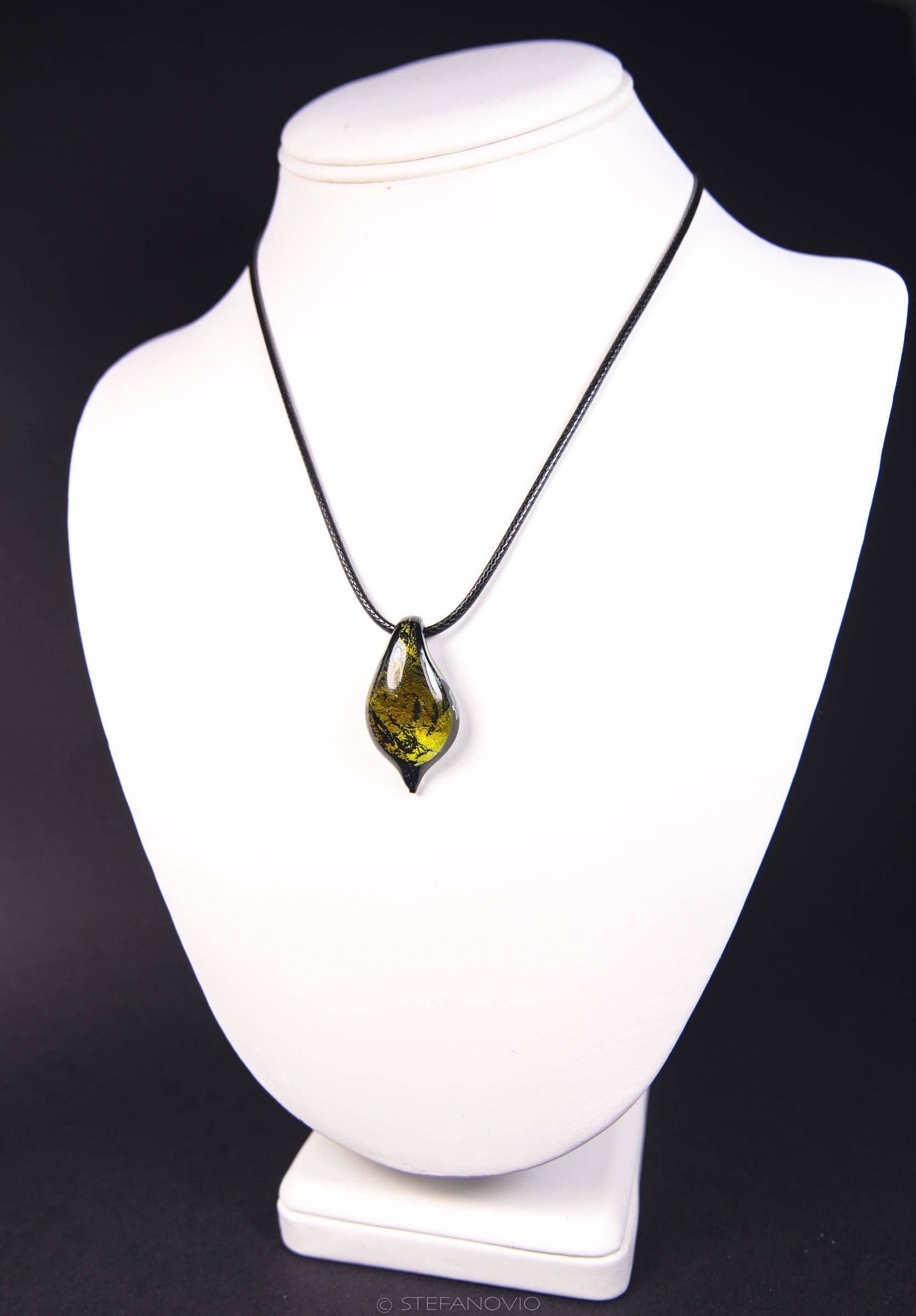Murano Glass Pendant Necklace Handmade Silver Leaf Made in Italy