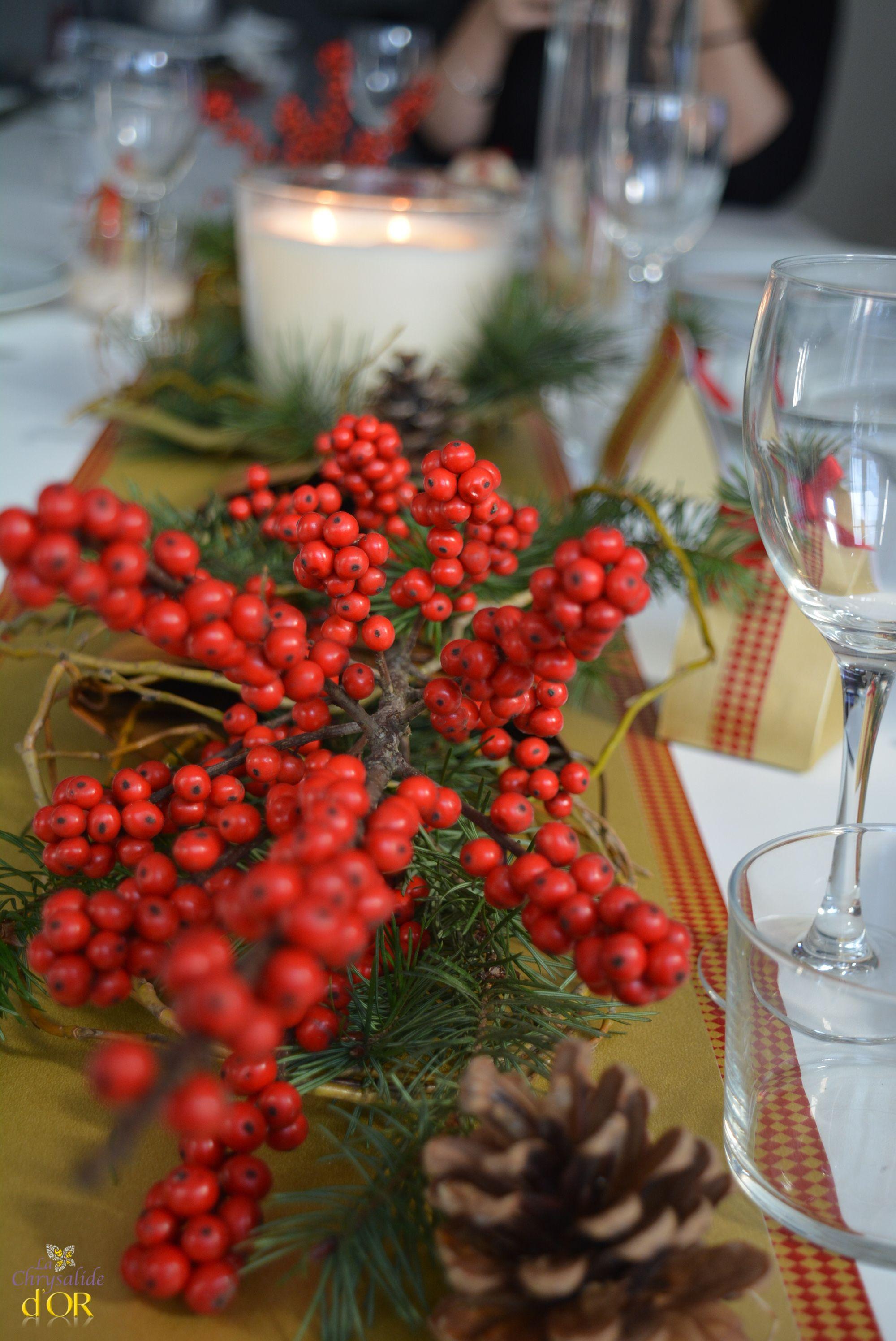 D Coration Table De Noel Rouge Et Dor , Christmas