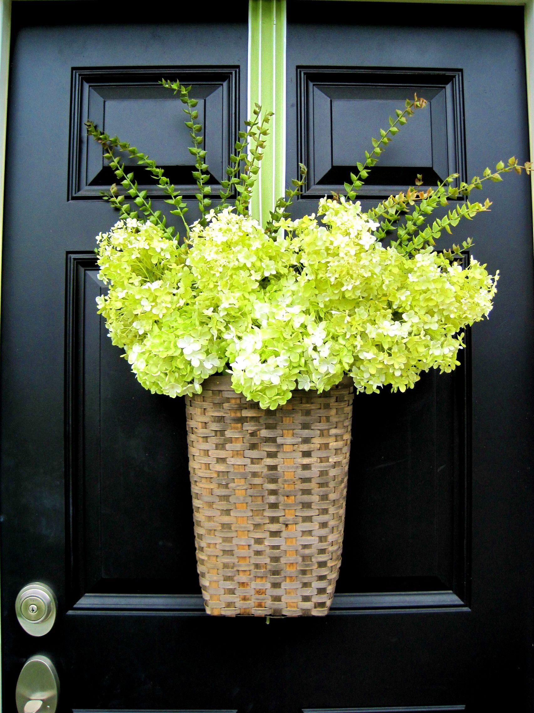 Hydrangea Door Basket Beautiful Front Doors Door Decorations