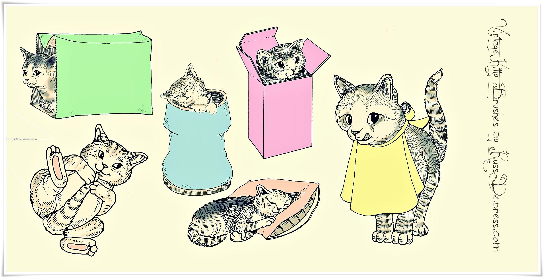 Retro Cute Kitties Cute cats, Kitty, Cat paws
