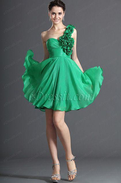 eDressit Simple One Shoulder Green Cocktail Dress Party Dress (04122604) #one shoulder dress #green dress #cocktail dress