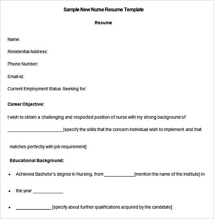 Sample New Nurse Resume Template , Nurse Resume Template and General ...