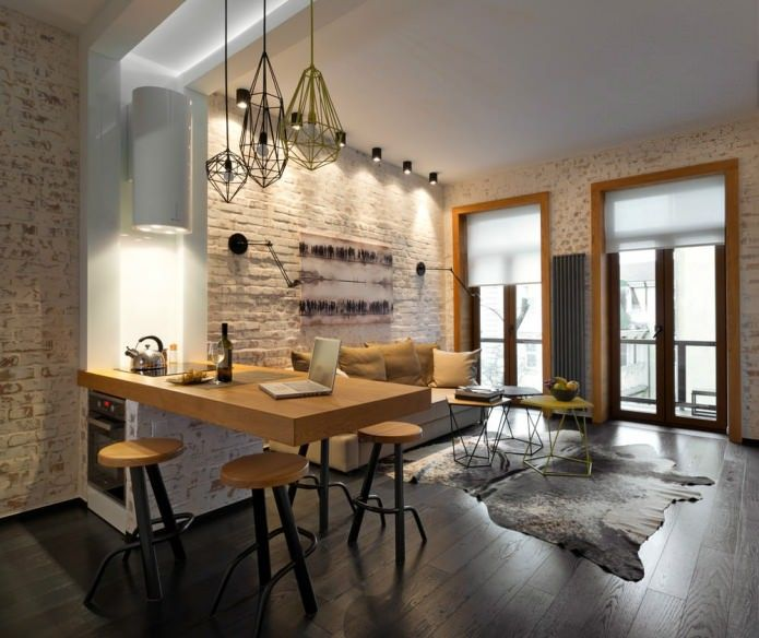 Loft интерьер квартиры 40 м2 Kitchen, dining room Pinterest - table salle a manger loft