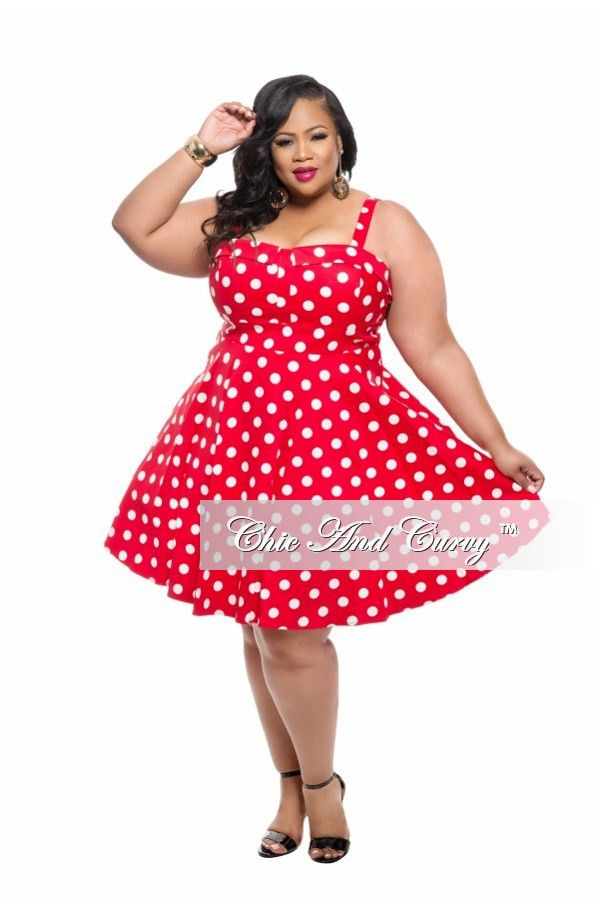 Plus Size Sleeveless Skater Dress in Red and White Polka Dot Print ...