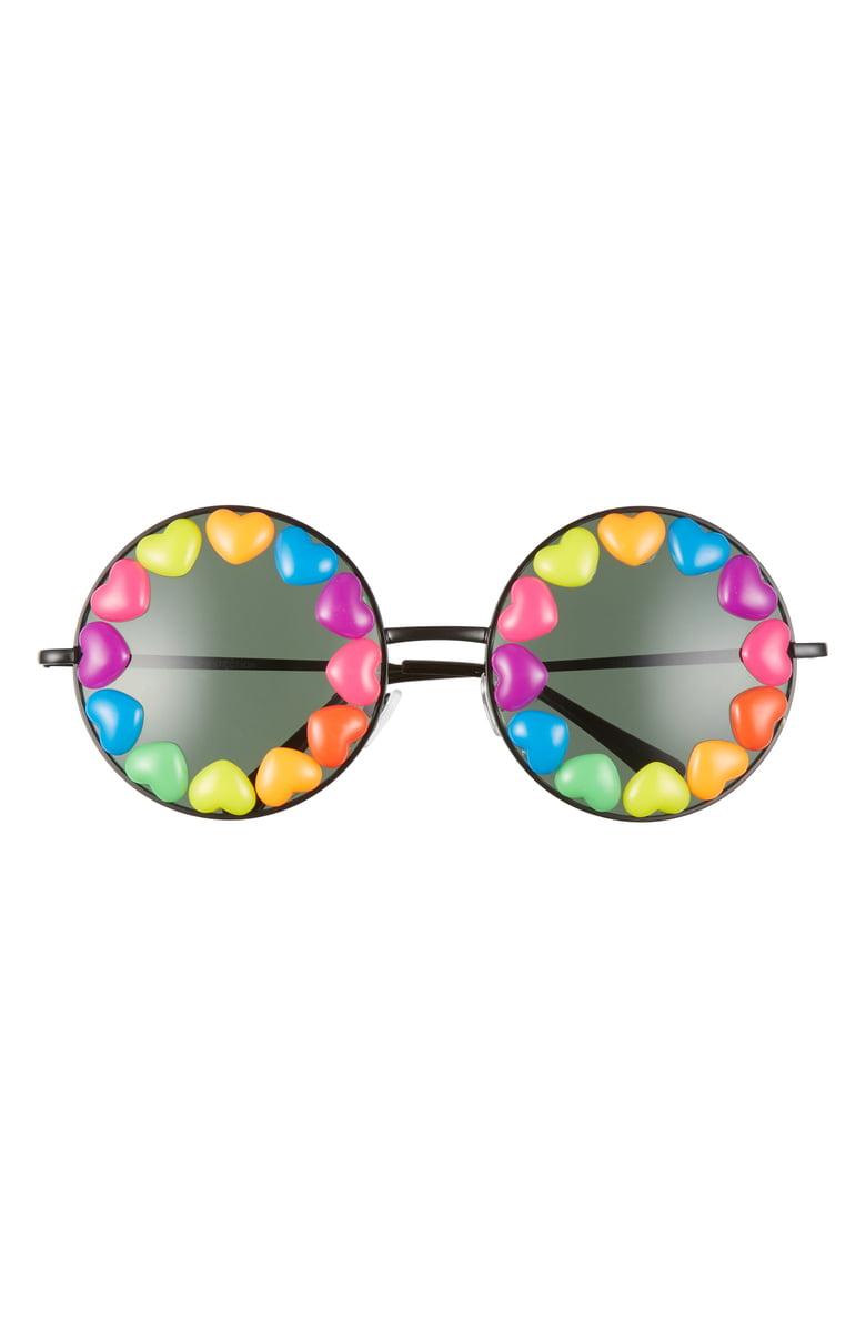 Rad Refined Rainbow Heart Round Sunglasses Nordstrom Round Sunglasses Rainbow Accessories Black Round Sunglasses