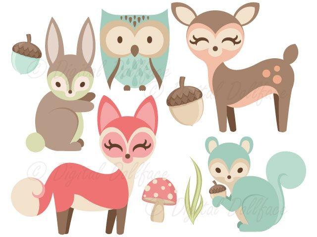 Bunny woodland. Animals clipart fox owl
