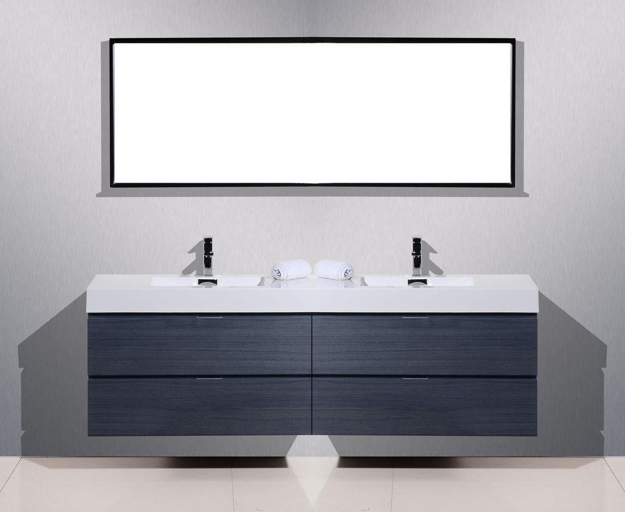 Bliss 80 high gloss gray oak wall mount double sink - Modern double sink bathroom vanities ...