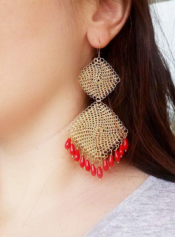 Red Coral Earrings Statement Crochet Earrings Gold Wire Jewelry