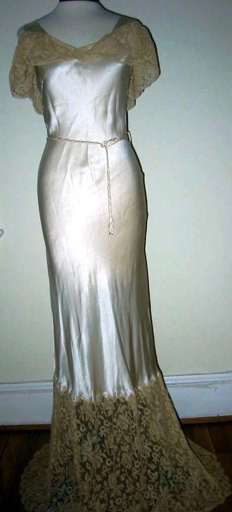 Stunning 1930's Silk Satin Lace Bias Gown Red Carpet, Wedding, Boudoir